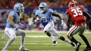 TJ Logan was electric all night long for the Tar Heels when his number was called. He scored a pair of second-half touchdowns that put Georgia behind by 10 points. (Jeffrey A. Camarati/ UNC Athletics)