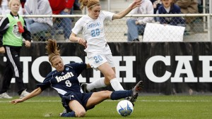 In the 2006 NCAA Championship against undefeated Notre Dame, O'Reilly scored one of UNC's two goals. (Jamie Schwaberow/NCAA Photos)