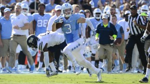 Lost in all the comeback drama, Ryan Switzer put together one of the greatest games by a receiver in UNC history with his 16 catches and 208 yards. (Jeffrey A. Camarati/ UNC Athletics)
