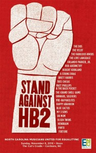 Stand Against HB2 concert scheduled for November 6
