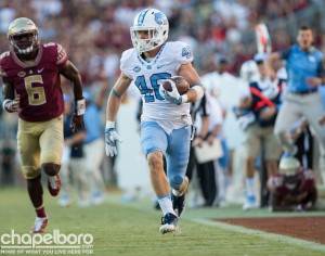 Playing without senior receiver Mack Hollins--who was lost for the season with a broken clavicle--means unheralded players like Thomas Jackson will need to step up for UNC. (Smith Cameron Photography)