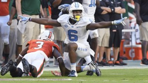 MJ Stewart and the rest of the Tar Heel secondary held Miami to just 221 yards through the air. (Jeffrey A. Camarati/ UNC Athletics)