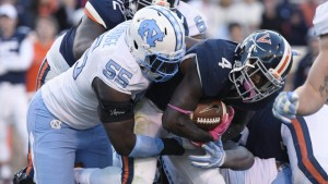 This was a common sight in Charlottesville on Saturday, as the UNC defense put together its best four-quarter performance of the year against Virginia. (Jeffrey A. Camarati/ UNC Athletics)