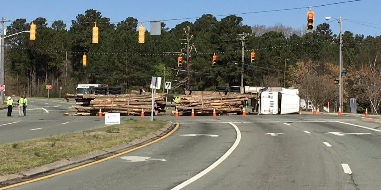 Road Blocked After Log Truck Overturns in Carrboro